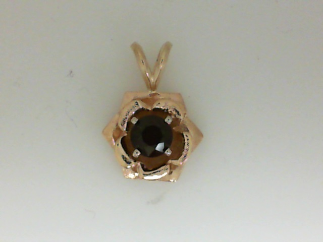 001-912-00006 - Lady's Yellow  Gold 14 Karat Rose Pendant With One 0.74Ct Round Garnet HALF OFF ITEMS ARE NOT RETURNABLE