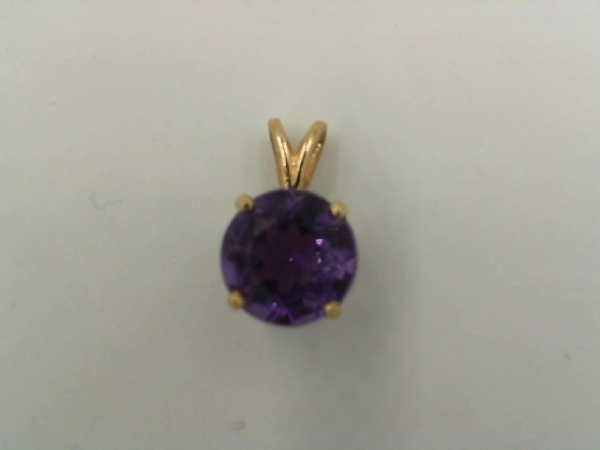 001-912-00008 - Estate 14K Yellow Gold Rabbit Ear Pendant With One 1.75Ct Round Amethyst, 1.1g, HALF OFF ITEMS ARE NOT RETURNABLE