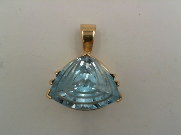 001-912-00011 - 14K yellow Pendant With One Trillion Blue Topaz And 4= Round Sapphires, 3.9g, HALF OFF ITEMS ARE NOT RETURNABLE