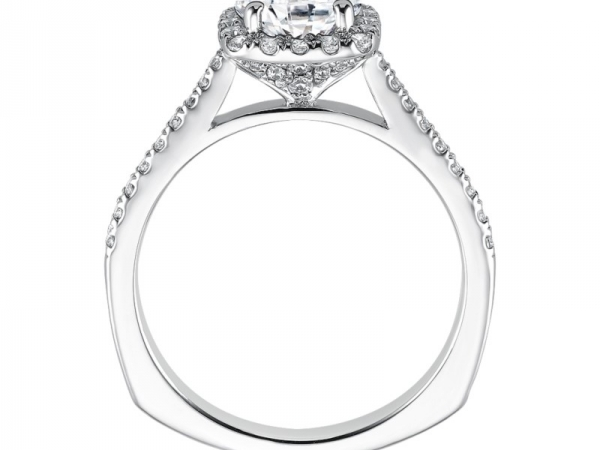 Diamond Engagement Rings - Cushion Shape Halo Mounting (0.31 ct. tw.) - image #2