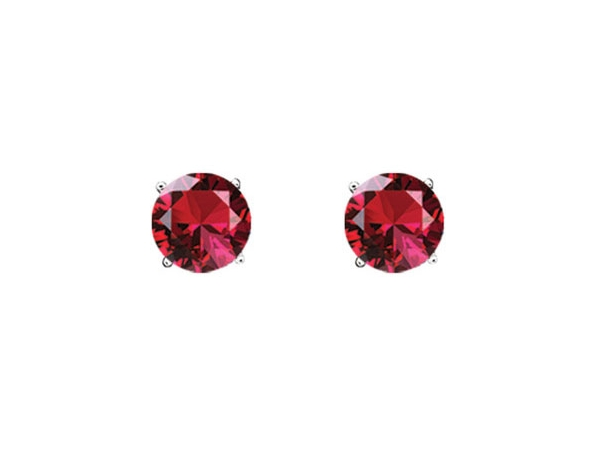 Colored Gemstone Earrings - Ruby Studs - image #2
