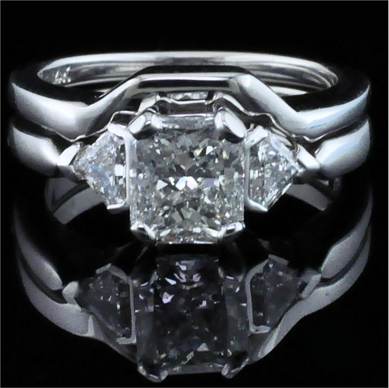 Diamond Engagement Rings - Radiant Cut Diamond Wedding Set