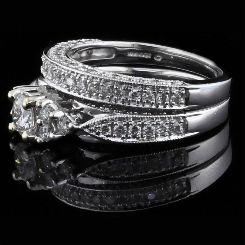 Diamond Engagement Rings - Carved Style Diamond Wedding Set - image #2