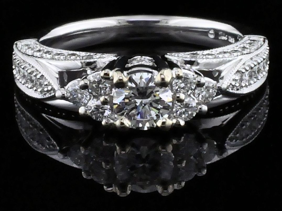 Diamond Engagement Rings - Carved Style Diamond Wedding Set - image #4