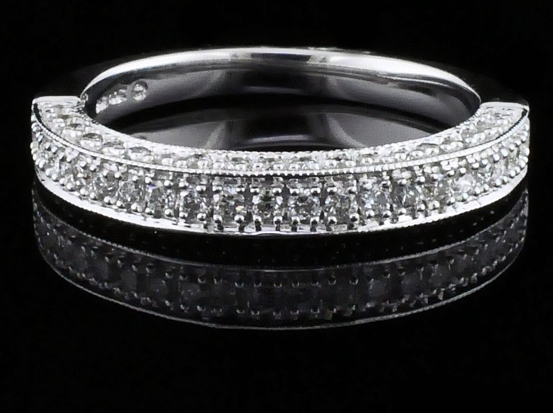 Diamond Engagement Rings - Carved Style Diamond Wedding Set - image #5
