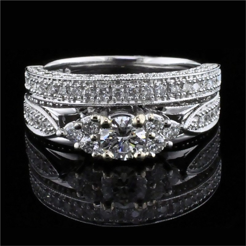 Diamond Engagement Rings - Carved Style Diamond Wedding Set