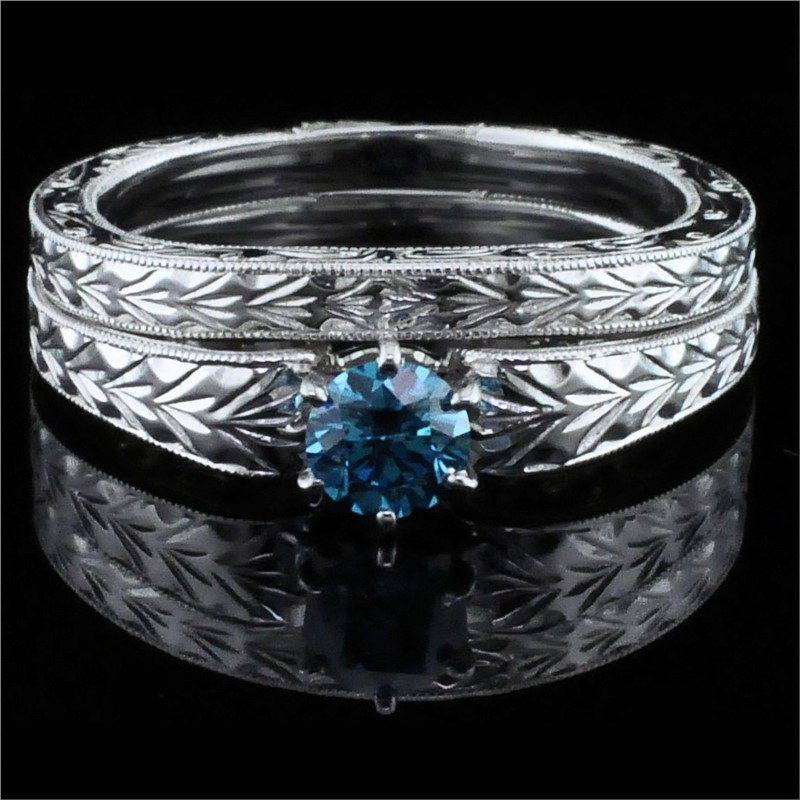 Diamond Engagement Rings - Hearts and Arrows Cut Blue Diamond Wedding Set