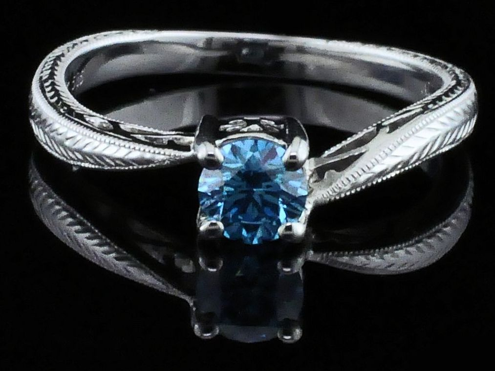 Diamond Engagement Rings - Hearts and Arrows Cut Blue Diamond Wedding Set - image #4
