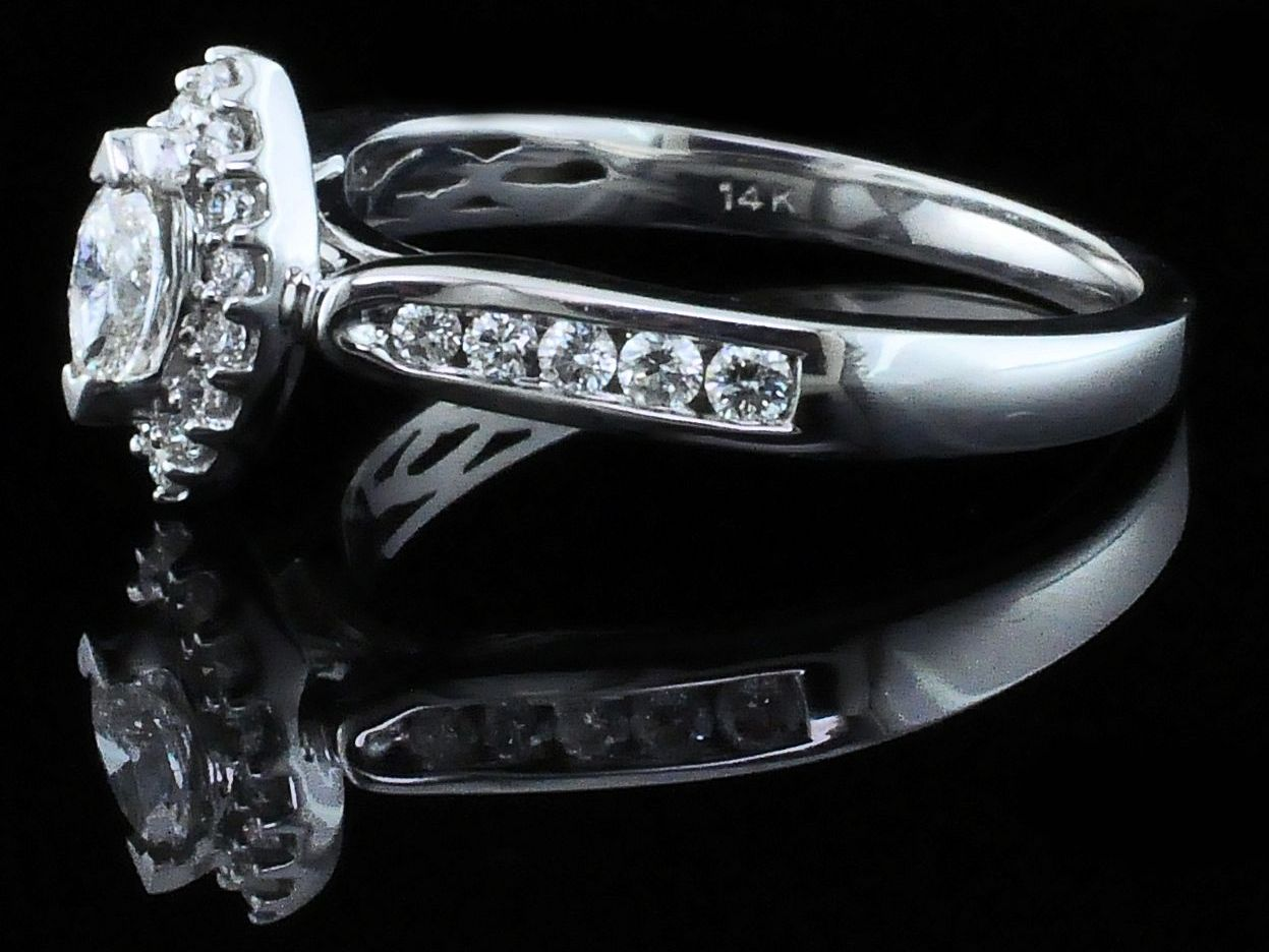 Diamond Engagement Rings - Marquise Halo Diamond Engagement Ring - image #2