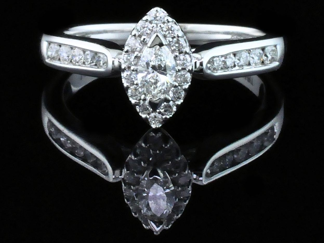 Diamond Engagement Rings - Marquise Halo Diamond Engagement Ring