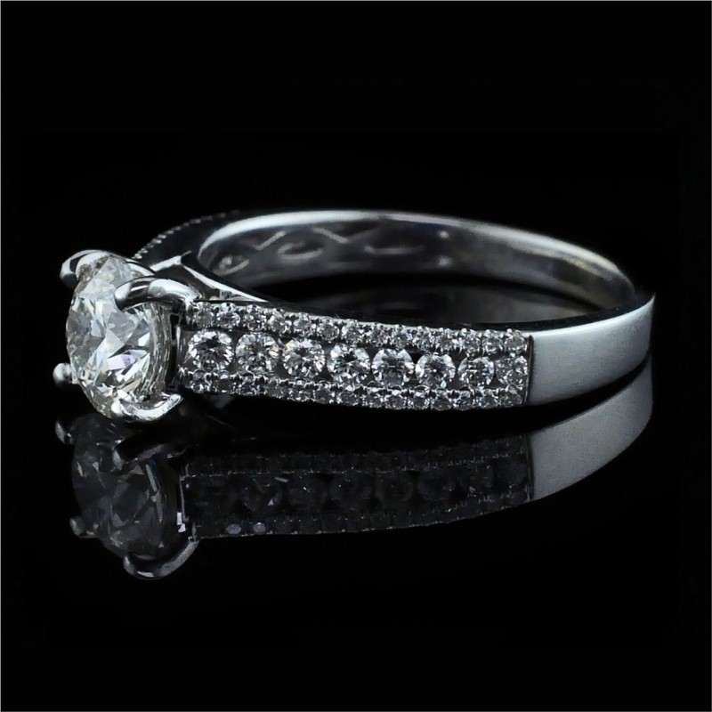 Diamond Engagement Rings - Hearts and Arrows Cut Diamond Engagement Ring - image #2