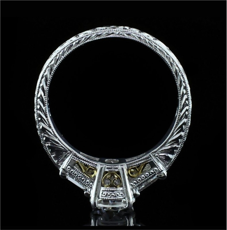 Diamond Engagement Rings - Platinum/18K Yellow Gold Diamond Engagement Ring - image 3