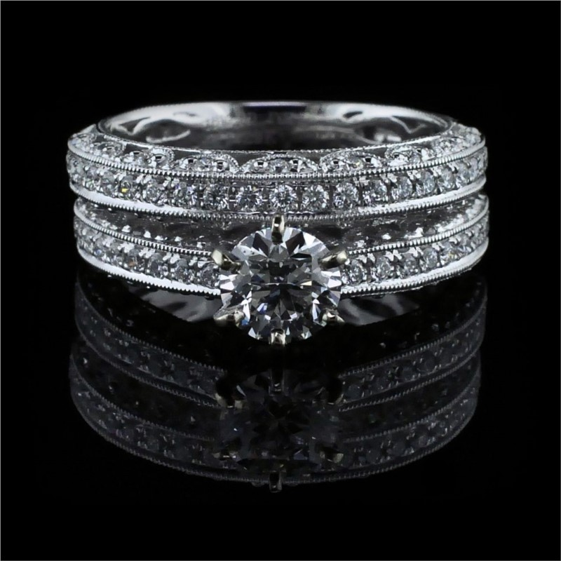 Diamond Engagement Rings - Hearts and Arrows Cut Diamond Wedding Set