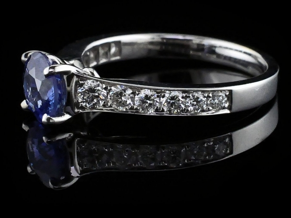 Fine Jewelry - Sapphire and Diamond Engagement Ring - image #2