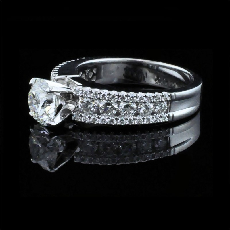 Diamond Engagement Rings - 18K White Gold and Diamond Engagement Ring - image #2