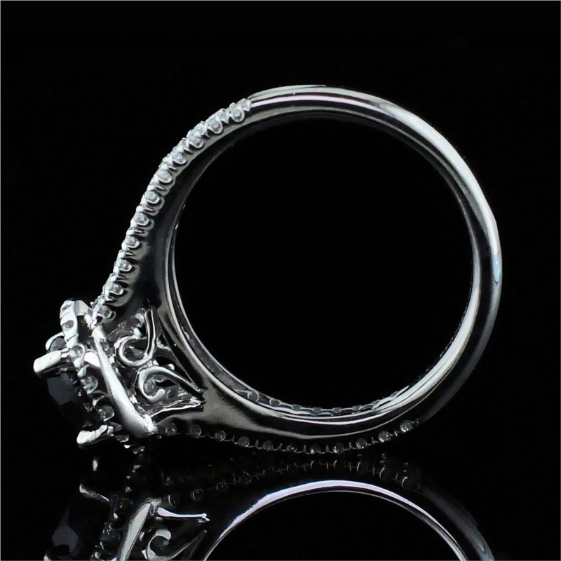 Diamond Engagement Rings - 14K White Gold And Black Diamond Engagement Ring - image #3