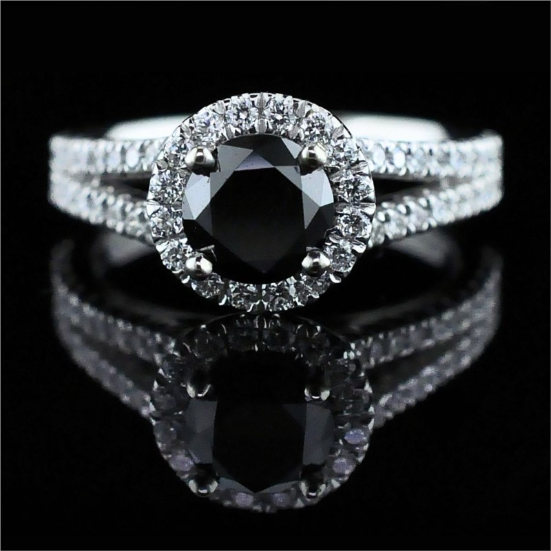 Diamond Engagement Rings - 14K White Gold And Black Diamond Engagement Ring
