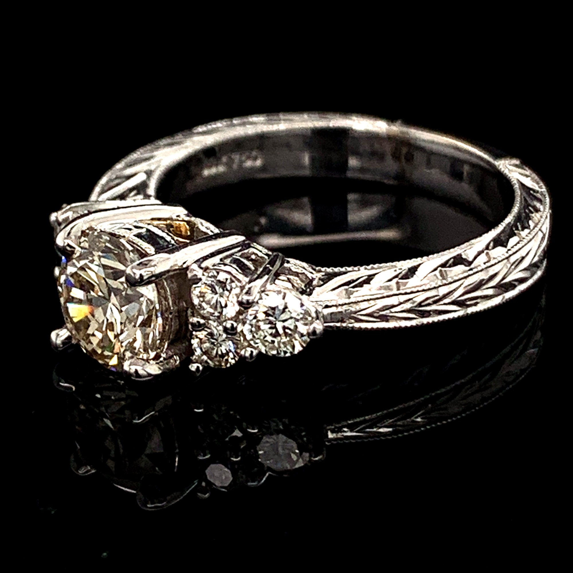Diamond Engagement Rings - Ladies Carved 18K White/Yellow Gold And Diamond Engagement Ring - image #2