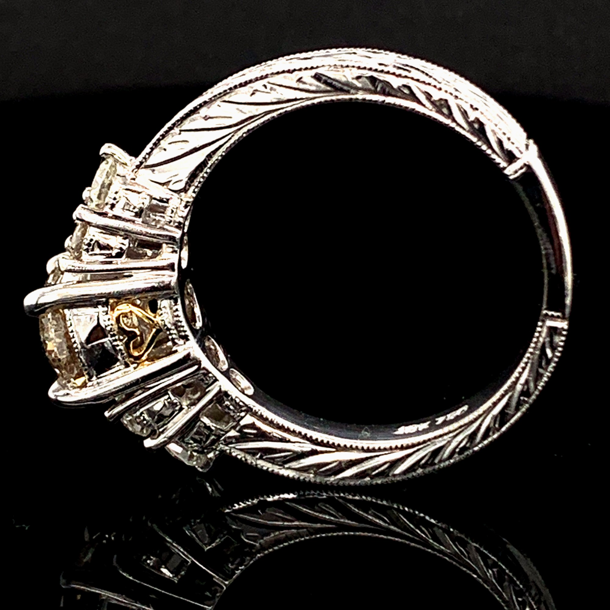 Diamond Engagement Rings - Ladies Carved 18K White/Yellow Gold And Diamond Engagement Ring - image #3