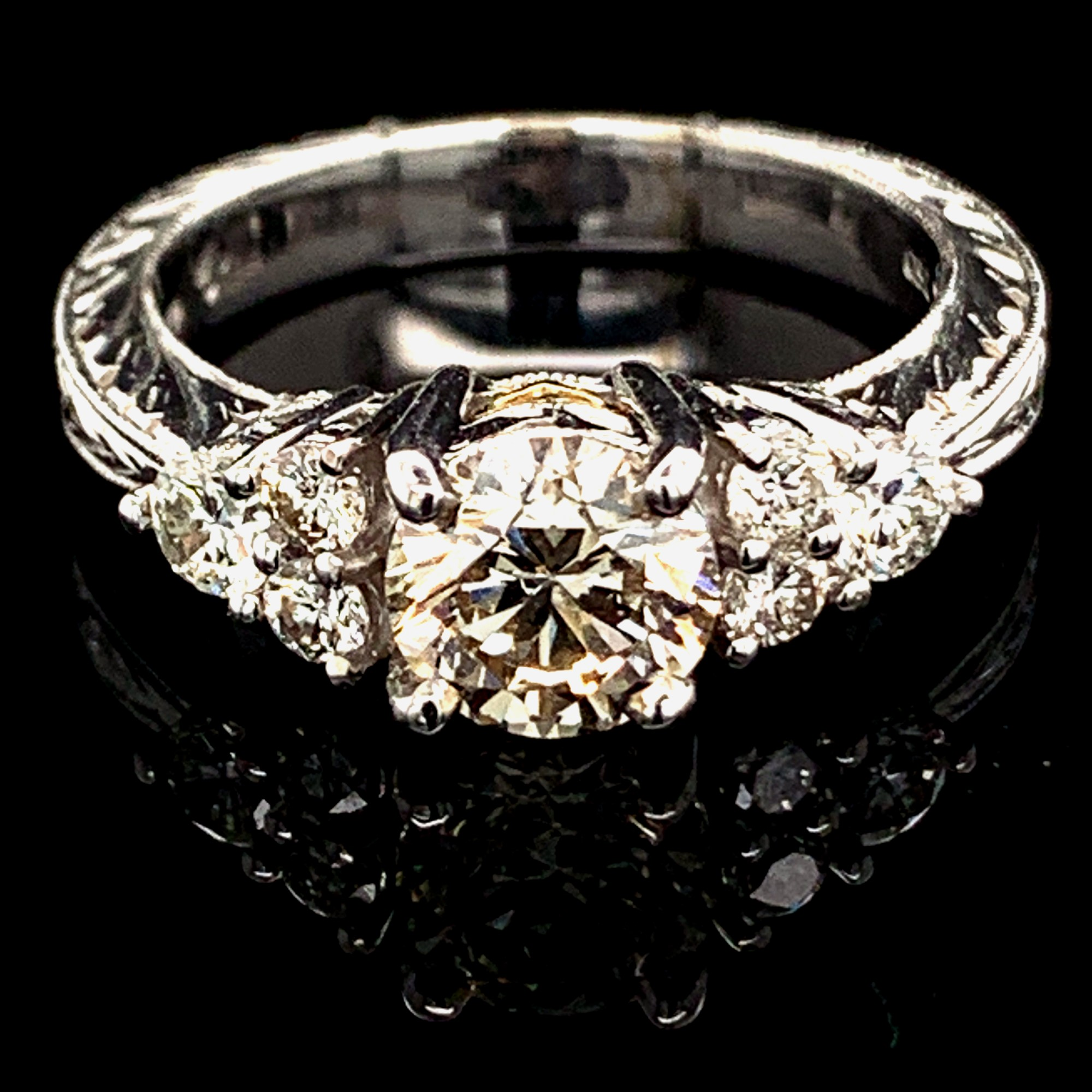 Diamond Engagement Rings - Ladies Carved 18K White/Yellow Gold And Diamond Engagement Ring
