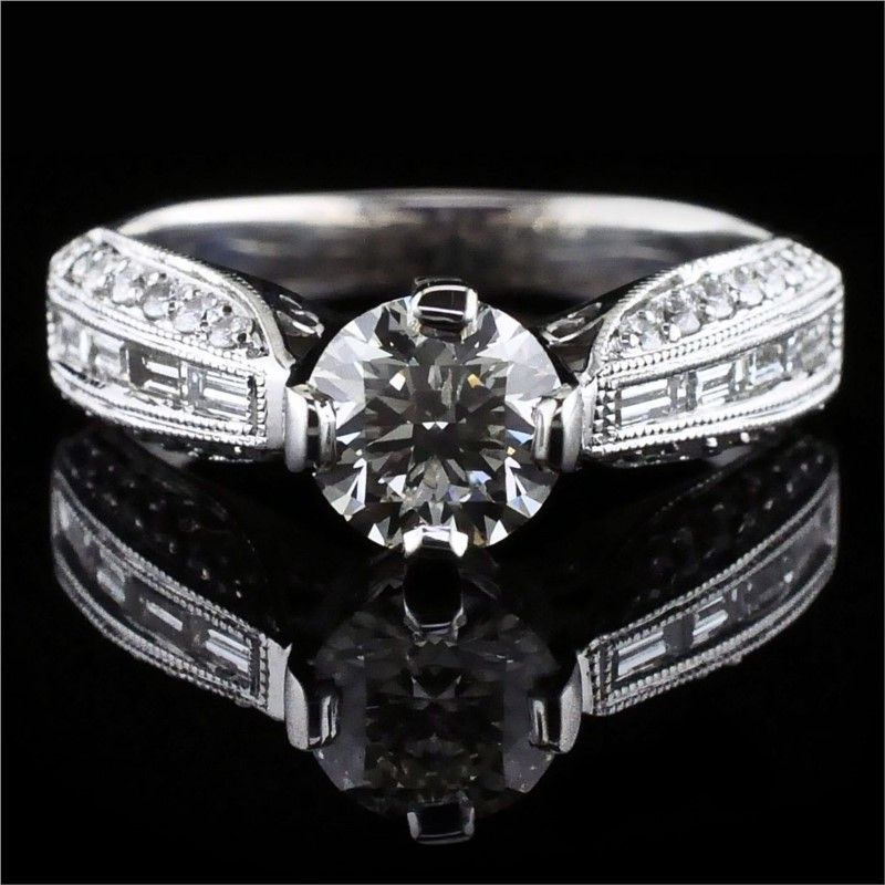 Diamond Engagement Rings - Baguette and Round Diamond Engagement Ring