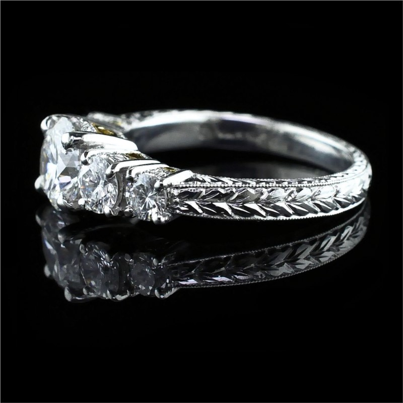 Diamond Engagement Rings - Platinum and 18K Hand Carved 5-Stone Ring - image #2