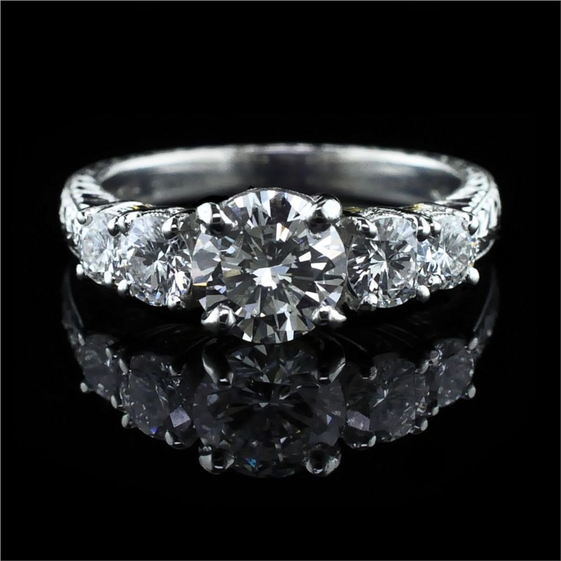 Diamond Engagement Rings - Platinum and 18K Hand Carved 5-Stone Ring