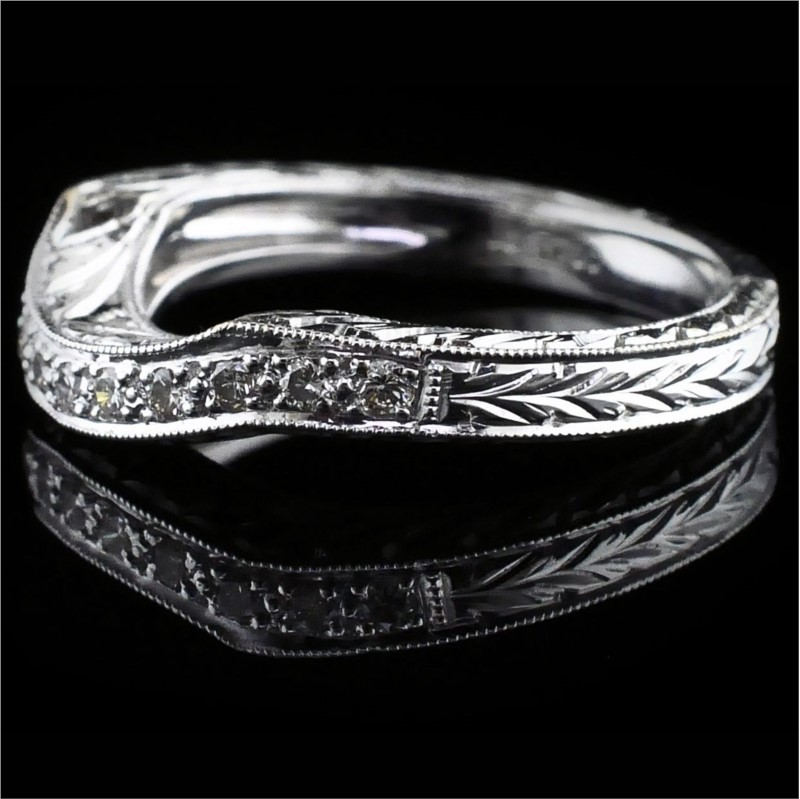 Women's Diamond Wedding Bands - Hand Carved Diamond Wedding Band - image #2