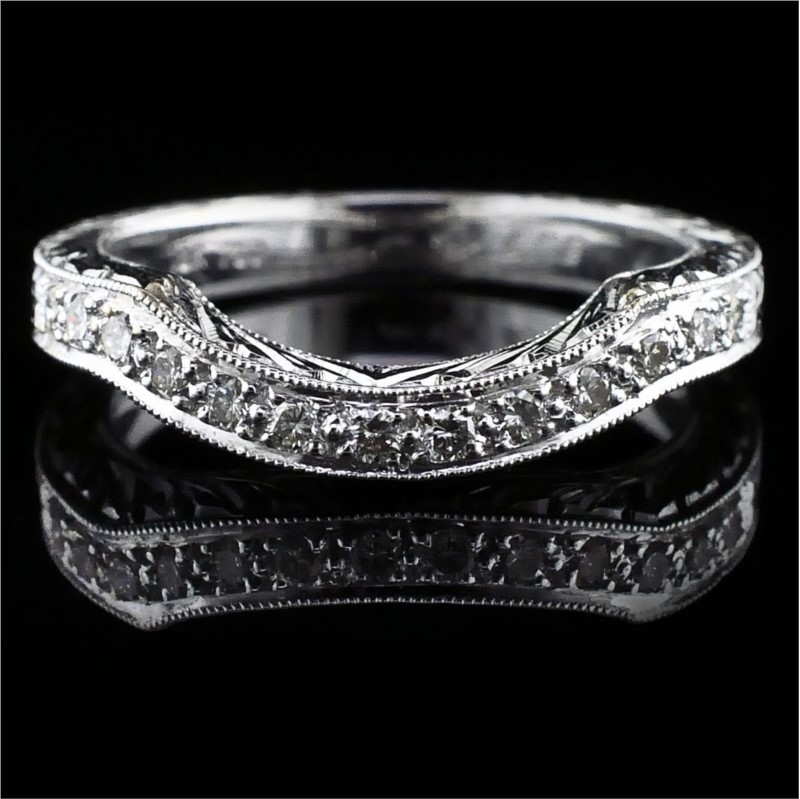 Women's Diamond Wedding Bands - Hand Carved Diamond Wedding Band