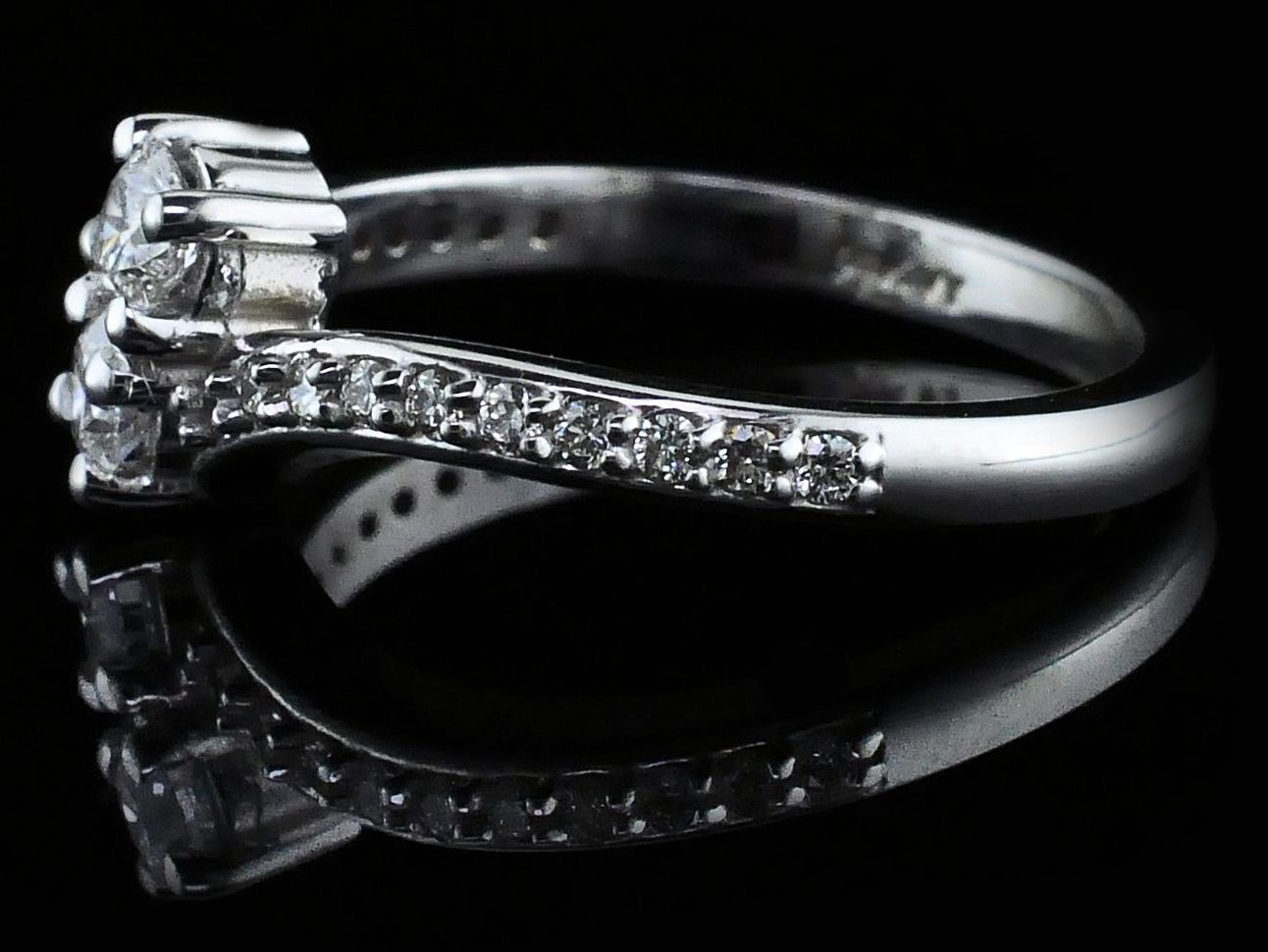 Women's Diamond Fashion Rings - Ladies 2-Stone Diamond Fashion Ring - image #2
