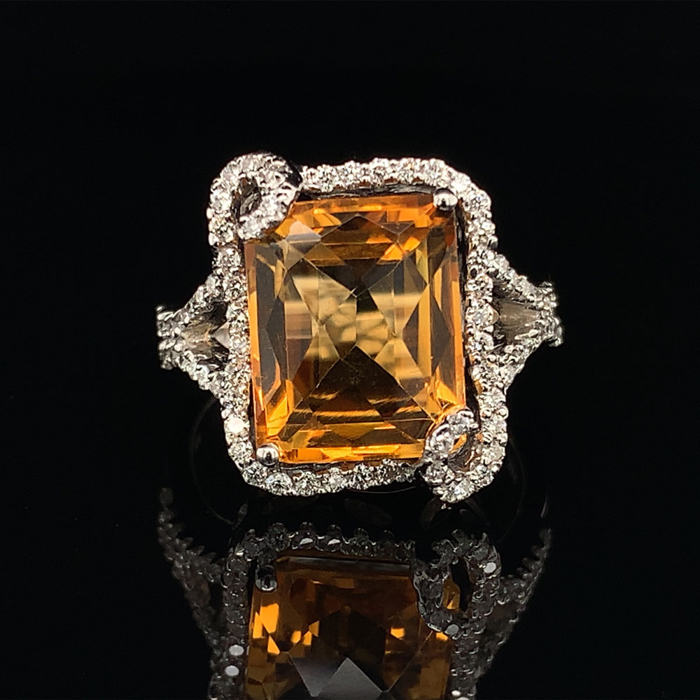 Women's Colored Stone Rings - Alisa Unger Designs Citrine and Diamond Fashion Ring