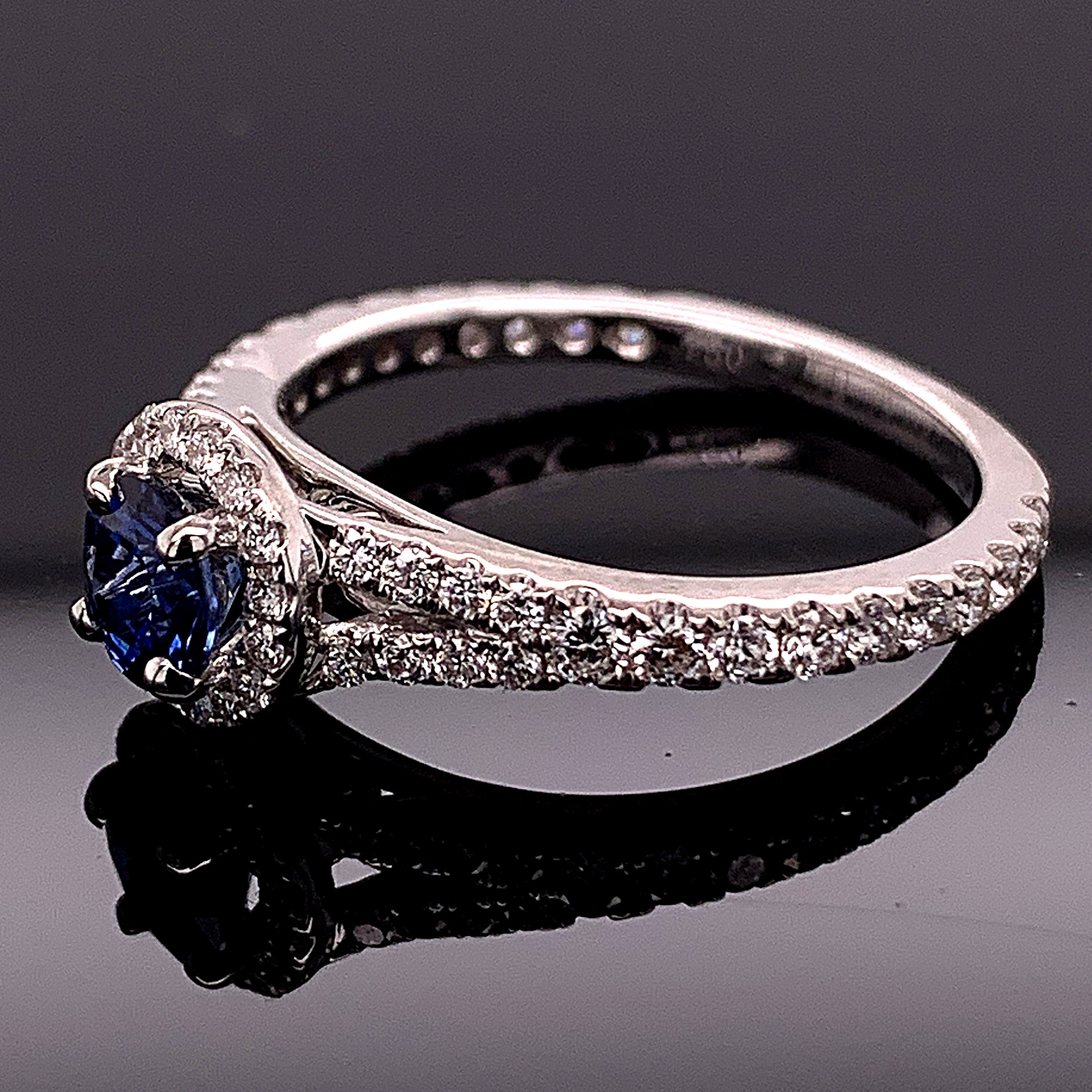 Women's Colored Stone Rings - Blue Sapphire And Diamond Ring - image #2