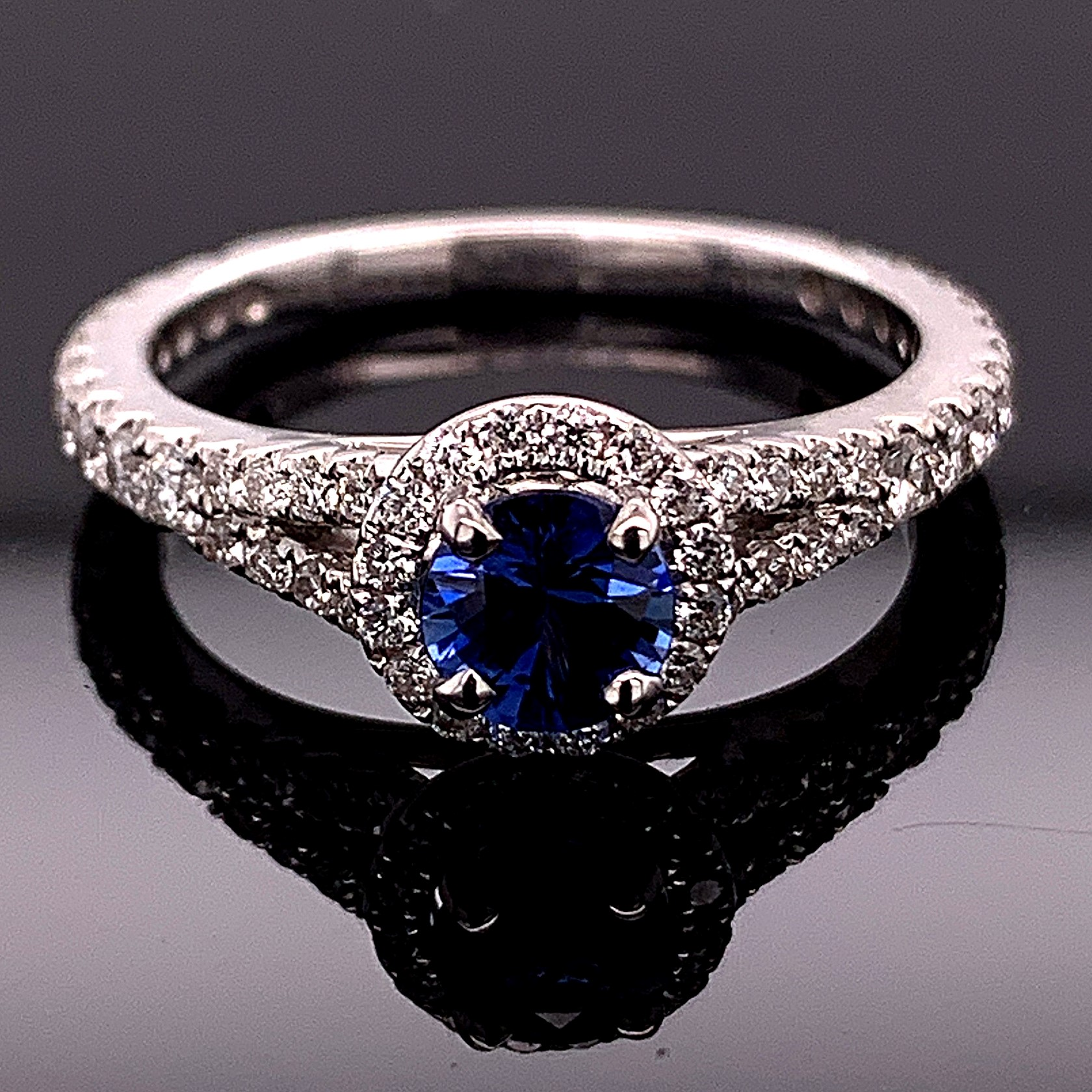 Women's Colored Stone Rings - Blue Sapphire And Diamond Ring