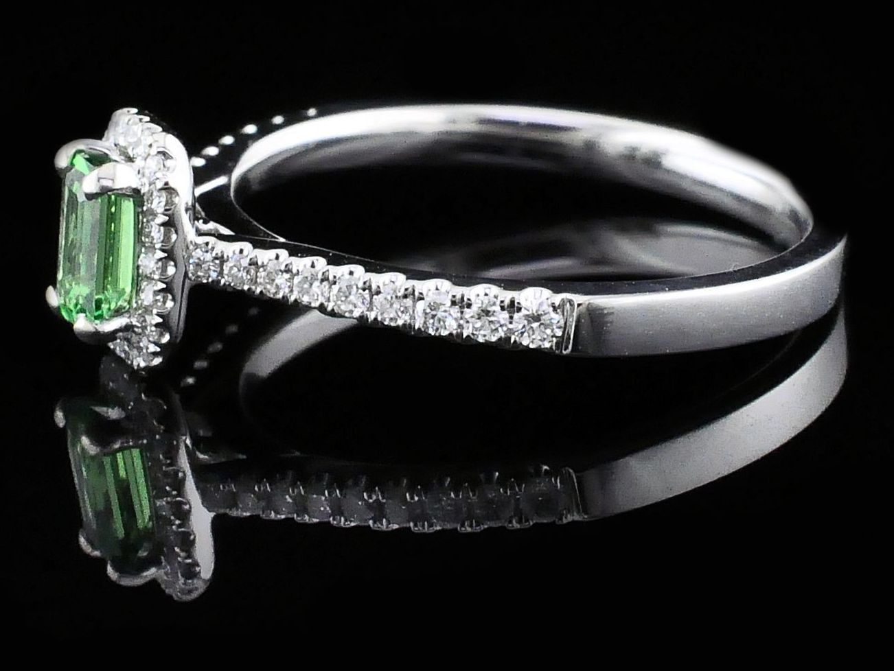 Women's Colored Stone Rings - Ladies Tsavorite Garnet and Diamond Fashion Ring - image #2