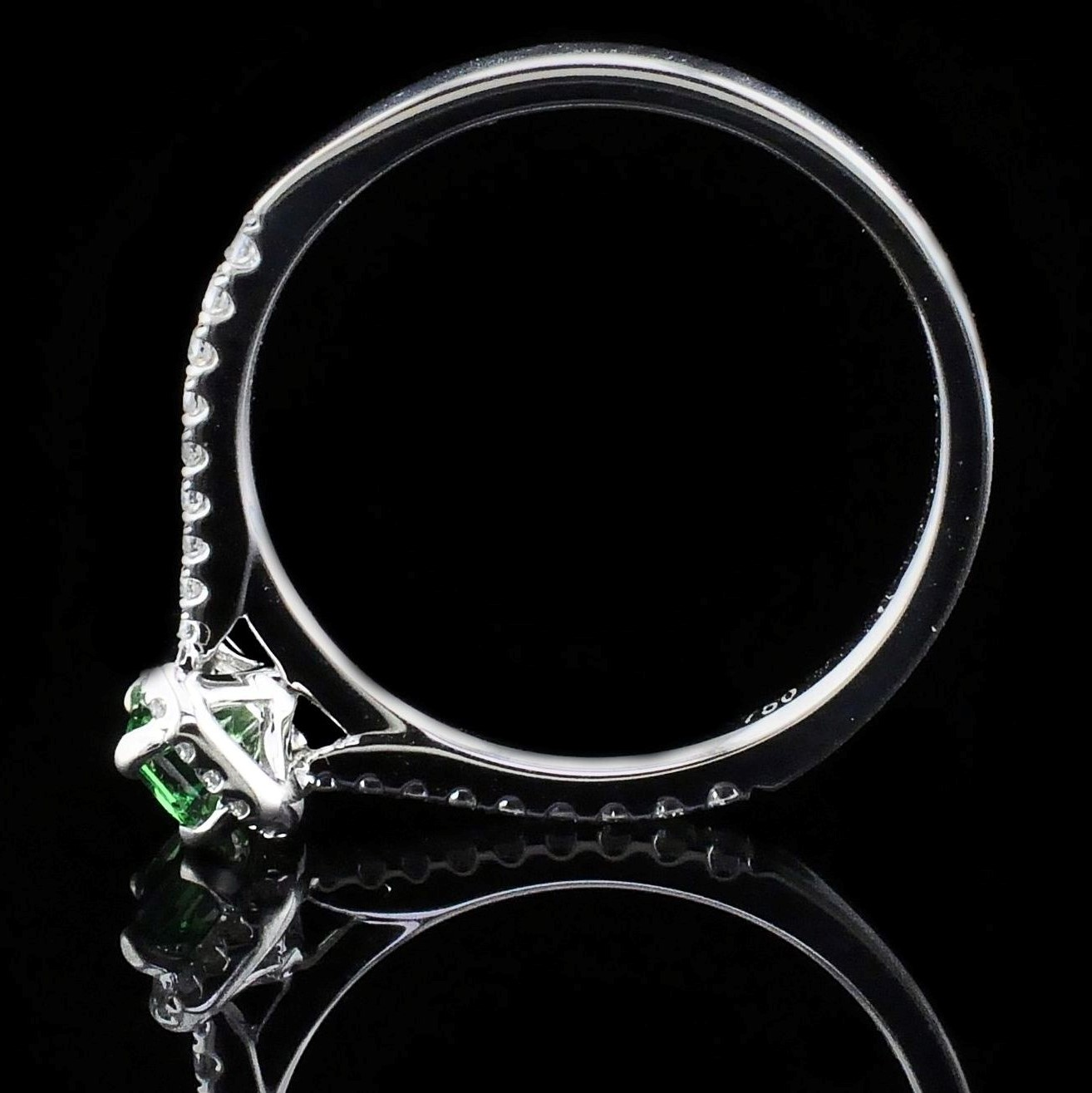 Women's Colored Stone Rings - Ladies Tsavorite Garnet and Diamond Fashion Ring - image #3