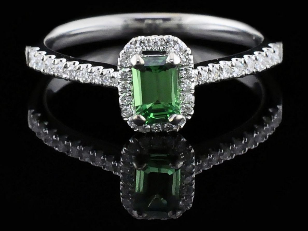 Women's Colored Stone Rings - Ladies Tsavorite Garnet and Diamond Fashion Ring