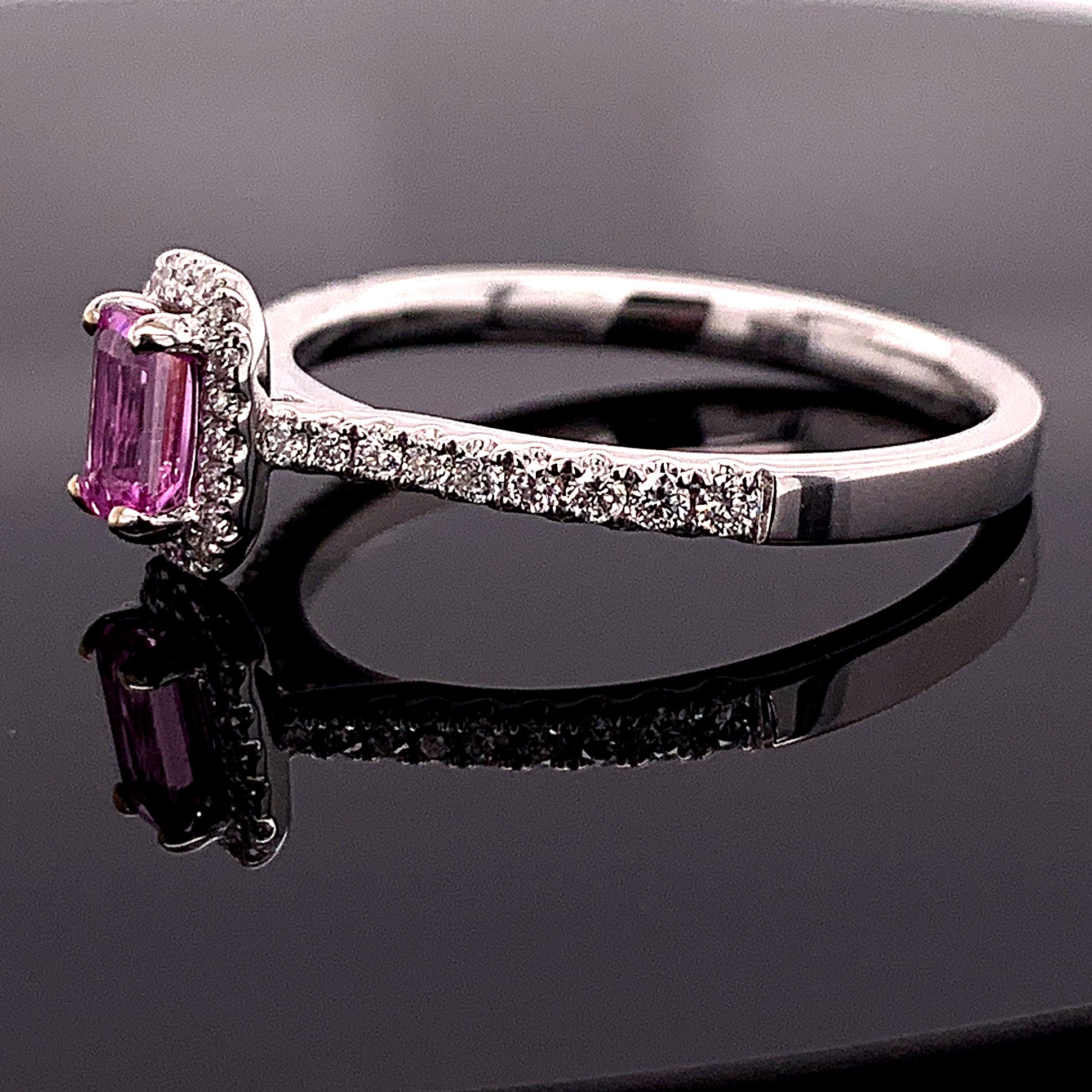 Women's Colored Stone Rings - Ladies Pink Sapphire and Diamond Fashion Ring - image #2