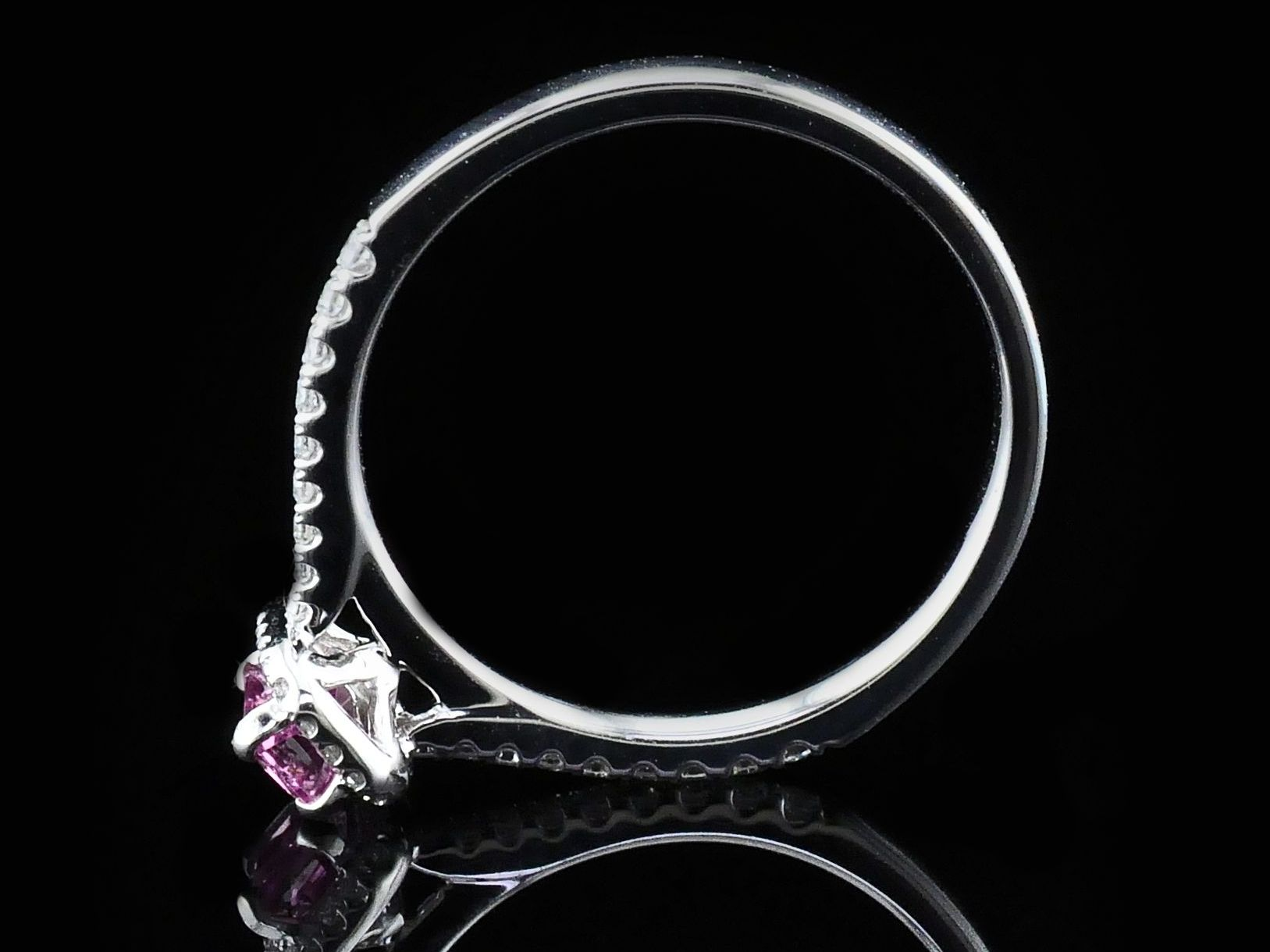 Women's Colored Stone Rings - Ladies Pink Sapphire and Diamond Fashion Ring - image #3