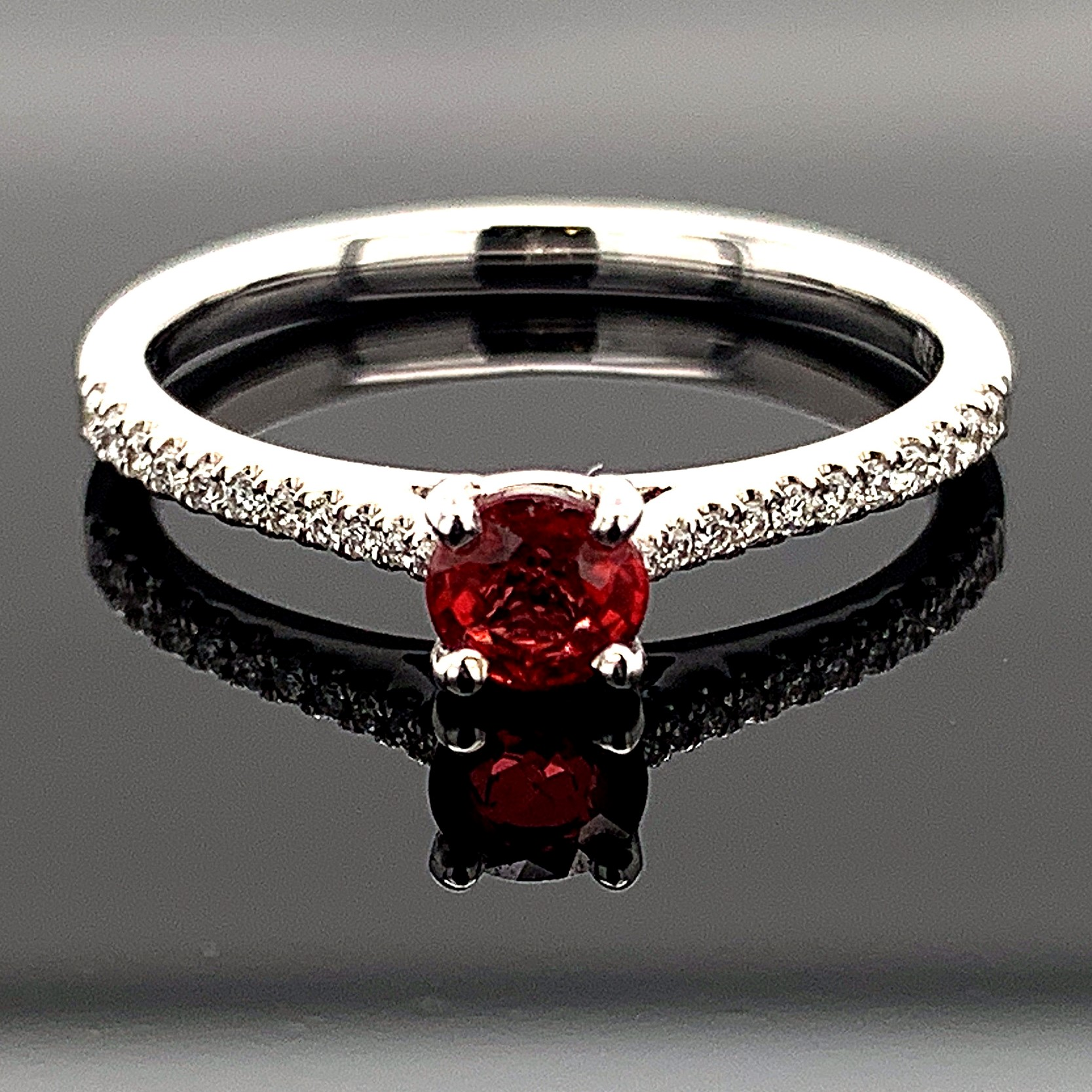 "Women's Colored Stone Rings - 18K White Gold ""Fire Ruby"" And Diamond Ring"