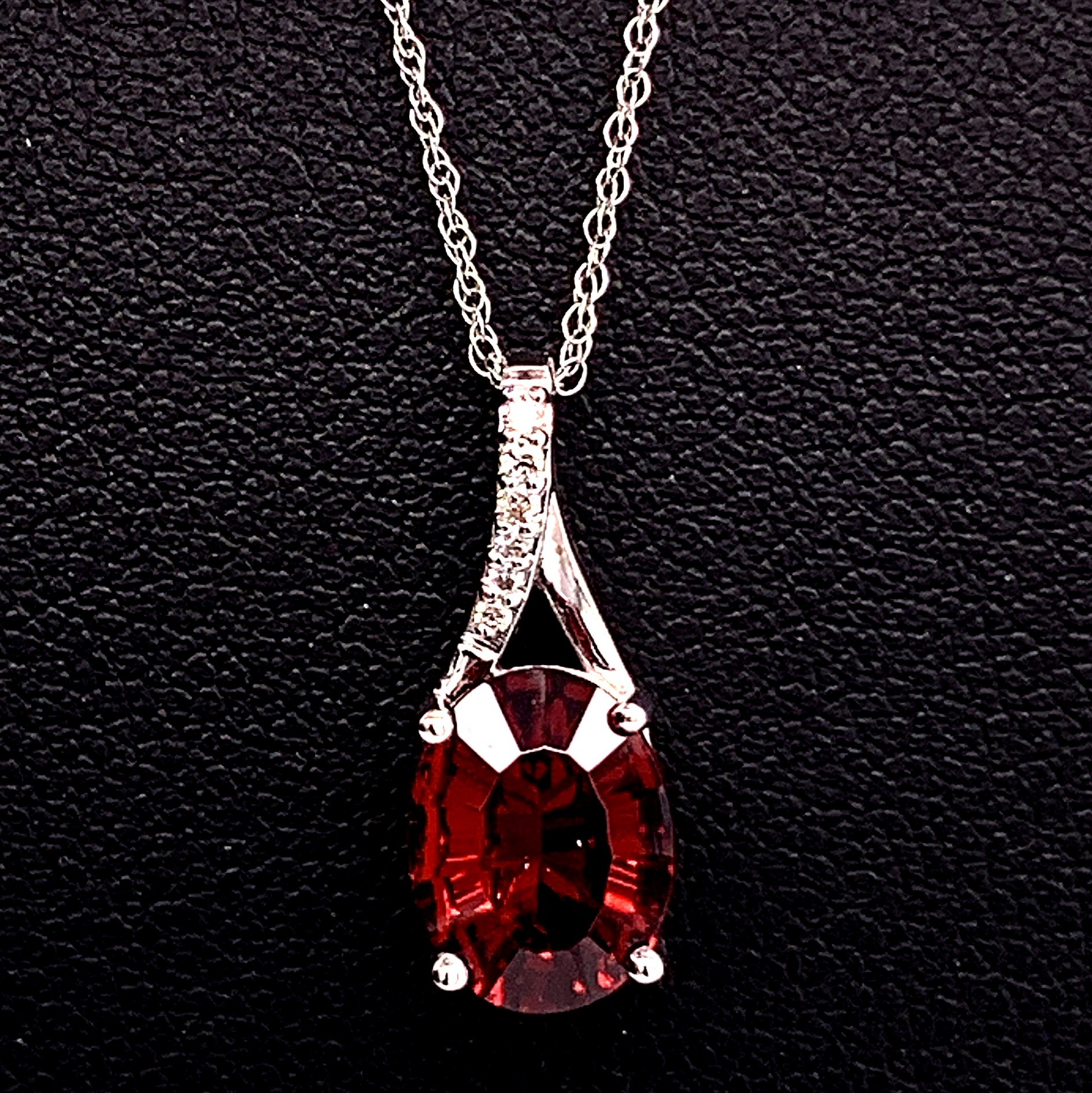 Colored Stone Pendants - Garnet and Diamond Pendant