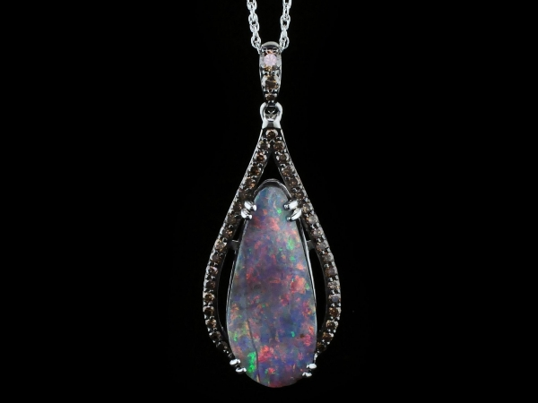 Colored Stone Pendants - Australian Boulder Opal and Cognac Diamond Pendant