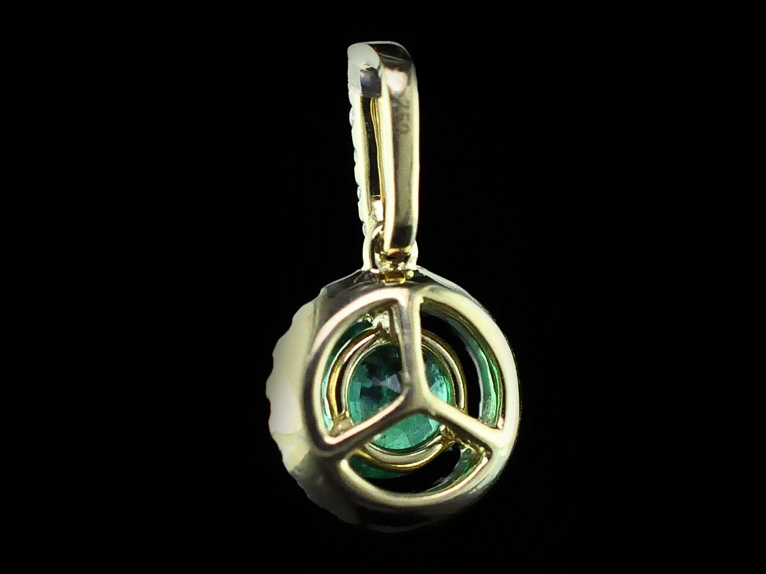 Colored Stone Pendants - Emerald and Diamond Halo Pendant - image #2