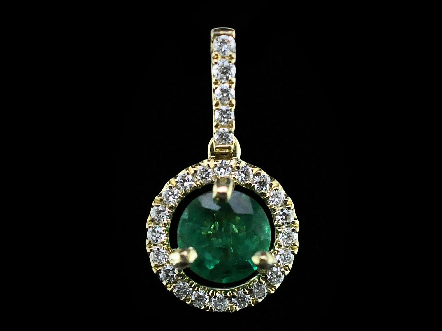Colored Stone Pendants - Emerald and Diamond Halo Pendant