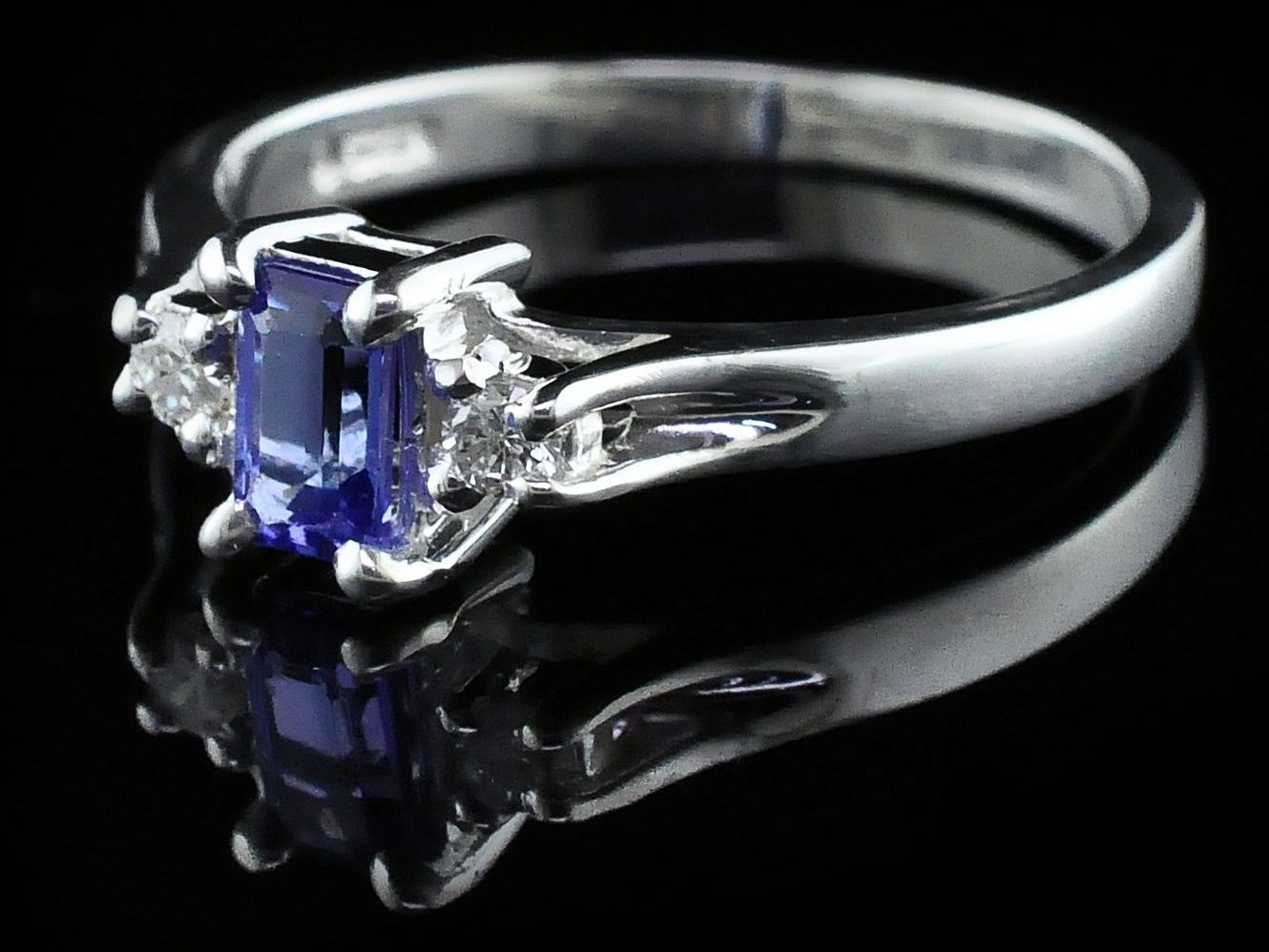 Silver Rings With Stones - Tanzanite And Diamond Three Stone Ring - image #2