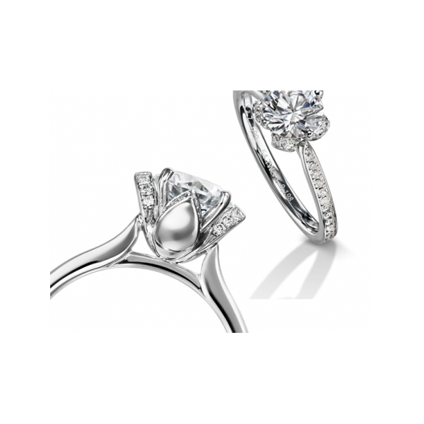 Fine Jewelry - Floral Engagement Ring - image #2
