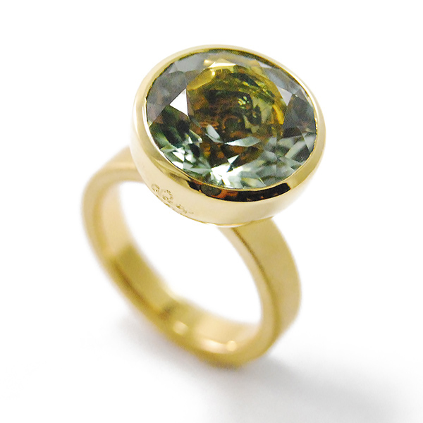 Blub Ring, 14 mm - Designer: Georg Spreng Style: Blub Ring, 14 mm Metal: 18-karat yellow gold, matte finish shank with high polish bezel, 3.5 mm wideStone: 8.77 carat round faceted mint-green Citrine, 14 mm Finger Size:  7 US