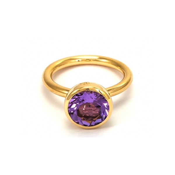 Twiggy Ring, 10mm - Designer: Georg SprengStyle: Twiggy Ring, 10mmMetal: 18-karat yellow gold, high polishStone: 3.01 carat round amethyst, 10mmFinger Size: 7