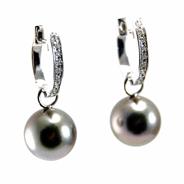 H2O Pearl Earrings - Designer: GellnerStyle: H2O Pearl EarringsMetal: 18-karat white gold, high polishPearls: two Tahitian cultured pearls, 10 - 11mm each, dark greenish-greyDiamonds: 18 round brilliant cut diamonds, 0.18 carat total weight, F-G color, VS clarityLength: 1 inch*pearl jacket is removable*