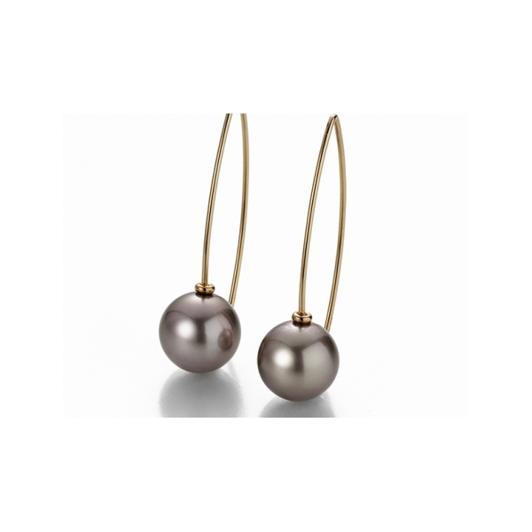 H2O Pearl Earrings - Designer: GellnerStyle: H2O Pearl EarringsMetal: 18-karat red gold, high polishPearls: two brown Tahitian-cultured pearls, 11 - 12mm each, silvery-rose color, high lusterLength: 1.5 inches