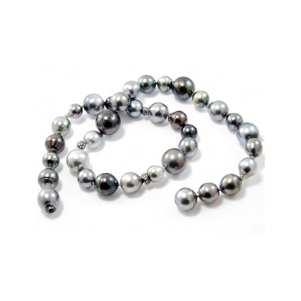 Tahitian Pearl and Diamond Strand - Designer: GellnerStyle: Tahitian Pearl and Diamond StrandPearls: 37 baroque to spherical Tahitian cultured pearls, 8-15mm, in varying hues of silvery-grey, green and dark blue, high luster and slightly blemished - one pearl as vario claspDiamonds: 4 black rhodium plated sterling silver stations set with round brilliant-cut diamonds Length: 19 inches